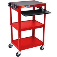 Luxor AVJ42KB-RD Red Mobile Computer Cart / Workstation 24 inch x 18 inch with Keyboard Shelf