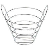 American Metalcraft WBC856 Round Chrome Wire Basket with Handles - 9 inch x 6 1/2 inch