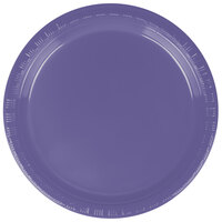 Creative Converting 28115011 7 inch Purple Plastic Lunch Plate - 240 / Case