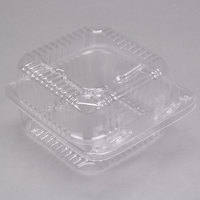 Durable Packaging PXT-11600 5 inch x 5 inch x 3 1/4 inch Deep Clear Hinged Lid Plastic Container   - 125/Pack