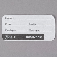 "Noble Products 1"" x 2"" Dissolvable Product Label with Dispenser Carton - 500/Roll"