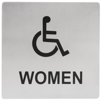 Tablecraft B21 ADA Handicap Accessible Women's Restroom Sign - Stainless Steel, 5 inch x 5 inch