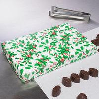 9 3/8 inch x 5 5/8 inch x 1 1/8 inch 2-Piece 1 lb. Holly / Holiday Candy Box   - 125/Case