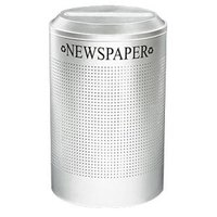 Rubbermaid FGDRR24PSM Silhouettes Silver Metallic Round Designer Recycling Receptacle - Paper 26 Gallon