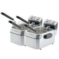 Waring WDF1000BD Double Heavy Duty 10 lb. Commercial Countertop Deep Fryer Set - 208V