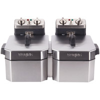 Waring WDF1000BD Double 10 lb. Commercial Countertop Deep Fryer Set - 208V
