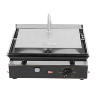Cecilware TSG-1F Single Panini Sandwich Grill with Flat Surfaces - 14 1/2 inch x 10 inch Cooking Surface - 120V, 1400W
