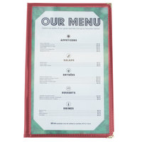 8 1/2 inch x 14 inch Burgundy Two Pocket Menu Cover