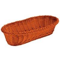 Orange Tablecraft Oblong Rattan Basket 15 inch x 6 1/2 inch x 3 1/4 inch 6/Pack