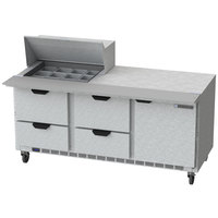 Beverage Air SPED72HC-12M-4 72 inch 1 Door 4 Drawer Mega Top Refrigerated Sandwich Prep Table