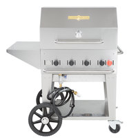 Crown Verity MCB-30-PKG Natural Gas Portable Outdoor BBQ Grill / Charbroiler with Roll Dome, Outdoor Cover, Shelf, and Bun Rack