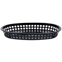 10 3/4 inch x 7 inch x 1 1/2 inch Black Oval Plastic Fast Food Basket - 12/Pack