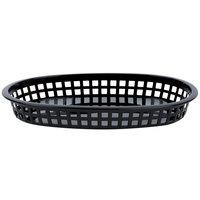 10 3/4 inch x 7 inch x 1 1/2 inch Black Oval Plastic Fast Food Basket - 12/Pack