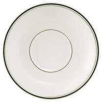 Tuxton TGB-036 Green Bay 5 inch Eggshell Wide Rim Rolled Edge China Demitasse Saucer with Green Bands - 36/Case