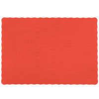 10 inch x 14 inch Red Colored Paper Placemat with Scalloped Edge - 1000/Case