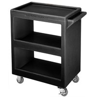 Cambro BC225110 Black Three Shelf Service Cart - 28 inch x 16 inch x 32 1/4 inch
