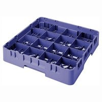Cambro 16S434186 Camrack 5 1/4 inch High Customizable Navy Blue 16 Compartment Glass Rack