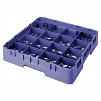 Cambro 16S434186 Camrack 5 1/4 inch High Navy Blue 16 Compartment Glass Rack