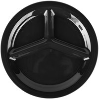 Carlisle 3300003 Sierrus 10 1/2 inch Black 3 Compartment Narrow Rim Melamine Plate - 12/Case