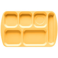 GET TR-151 Bright Yellow Melamine 10 inch x 15 1/2 inch Right Hand 6 Compartment Tray - 12/Pack