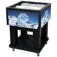 Black Mini Texas Icer 5015 Insulated Ice Bin / Merchandiser 32 Qt. with Dividers and Drain 23 1/4 inch x 23 1/4 inch