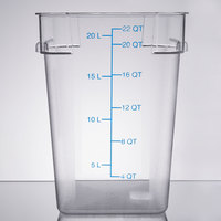 Carlisle 1072607 22 Qt. Clear Square StorPlus Container with Blue Graduations