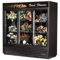True GDM-69FC-LD Black Three Glass Sliding Door Floral Case - 69 Cu. Ft.
