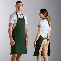 Choice Hunter Green Poly-Cotton Bib Apron with 2 Pockets - 34 inchL x 32 inchW