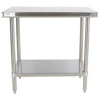 "Regency 24"" x 36"" 16-Gauge 304 Stainless Steel Commercial Work Table with Undershelf"
