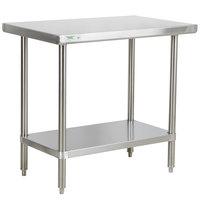 Regency 24 inch x 36 inch 16-Gauge 304 Stainless Steel Commercial Work Table with Undershelf