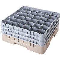 Cambro 36S1058184 Beige Camrack Customizable 36 Compartment 11 inch Glass Rack