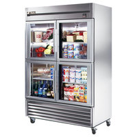 True TS-49G-4 54 inch Stainless Steel Two Section Half Glass Door Reach In Refrigerator - 49 Cu. Ft.