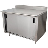 Advance Tabco CK-SS-304M 30 inch x 48 inch 14 Gauge Work Table with Cabinet Base and Mid Shelf - 5 inch Backsplash