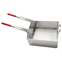 R & V Works Double 13 inch x 11 inch x 6 inch Fryer Basket with Front Hooks