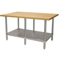 Advance Tabco H2S-308 Wood Top Work Table with Stainless Steel Base and Undershelf - 30 inch x 96 inch