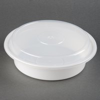 Newspring NC-723 24 oz. White 7 inch VERSAtainer Round Microwavable Container with Lid - 150/Case