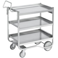 Vollrath 97211 Knock Down Heavy-Duty Stainless Steel 3 Shelf Utility Cart - 38 inch x 21 inch x 42 inch
