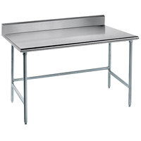 Advance Tabco TKAG-364 36 inch x 48 inch 16 Gauge Open Base Stainless Steel Commercial Work Table with 5 inch Backsplash