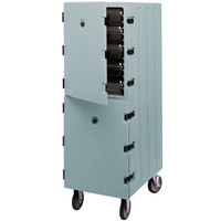 Cambro 1826DBC401 Camcart Slate Blue Double Compartment Food Storage Box Carrier