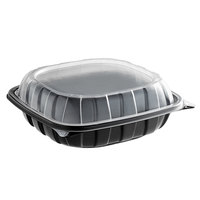 9 inch x 9 inch x 3 inch Microwaveable 1-Compartment Plastic Hinged Container   - 112/Case