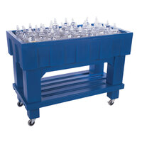 Blue Texas Icer 710 Insulated Ice Bin / Merchandiser with Shelf and Drain 48 inch x 24 inch 140 Qt.