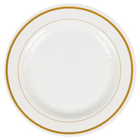 WNA Comet MP6IPREM 6 inch Ivory Masterpiece Plastic Plate with Gold Accent Bands - 150 / Case