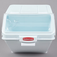 Rubbermaid FG9G5800WHT ProSave 12.6 Gallon / 200 Cup White Shelf Ingredient Storage Bin with Sliding Lid & Scoop