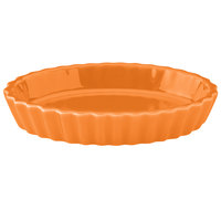 Hall China 30853325 Tangerine 6.5 oz. Colorations Oval Fluted Souffle / Creme Brulee Dish - 24/Case