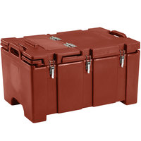 Cambro 100MPCHL402 Camcarrier Red Brown Top loading Pan Carrier with Hinged Lid for 12 inch x 20 inch Food Pans
