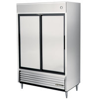 True TSD-47 54 inch Two Section Solid Sliding Door Reach in Refrigerator - 47 Cu. Ft.