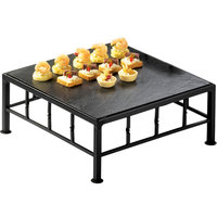 Cal-Mil 1711-5-65 Iron Black Square Riser with Slate Top - 12 inch x 5 inch