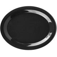 Carlisle 3308003 Sierrus 13 1/2 inch x 10 1/2 inch Black Oval Melamine Platter - 12/Case