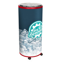 IRP Red Merch III 250 Mobile 44 Qt. Barrel-Style Merchandiser with Casters