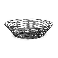 Tablecraft BK17512 Artisan Round Black Wire Basket - 12 inch x 3 1/2 inch
